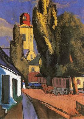 Jándi Dávid, Hungarian Artist. Street in Nagybánya, 1943, pastel
