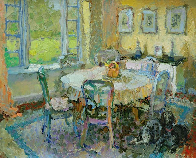 Painting by Zhang Jing Sheng. Friend's Dining Room