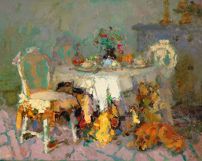 Impressionist Painting by Zhang Jing Sheng. Pale Yellow Chair