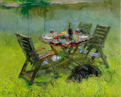 Red Wine. Impressionist Painting by Zhang Jing Sheng