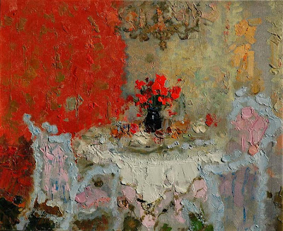 Impressionist Painting by Zhang Jing Sheng. Dining Room with Red Wallpaper