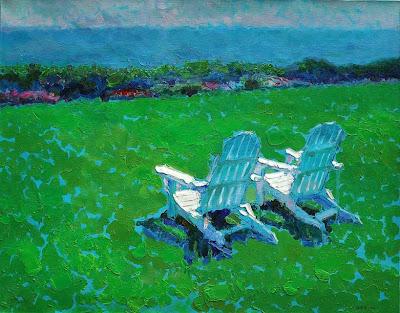 Impressionist Painting by Zhang Jing Sheng. Memorizing a Friend's Garden