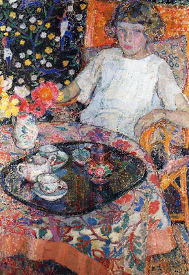 Painting by Leon De Smet. Little Girl at Table