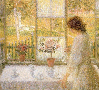 Painting by Leon De Smet. Woman at the Window