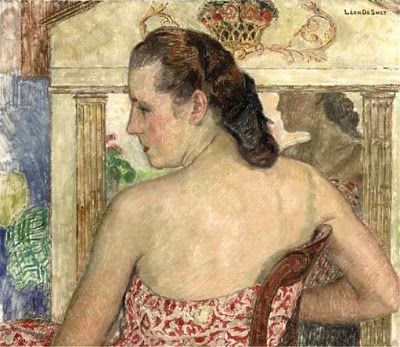 Leon De Smet's Paintings. Claire in a Summer Dress in front of the Mirror