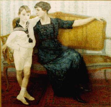 Belgian Artist Leon De Smet. Madame Maria De Smet and her Son Marcel