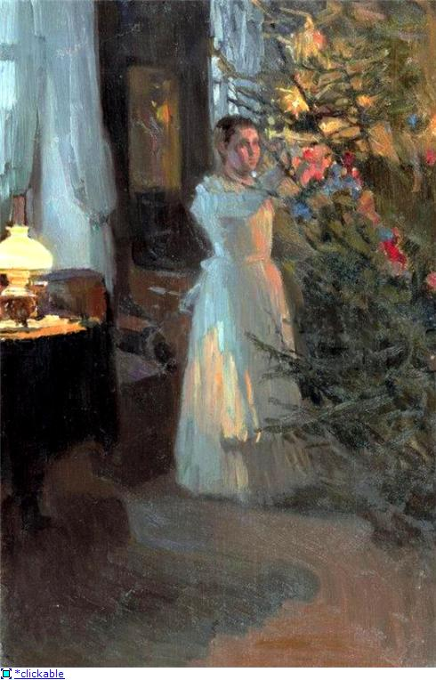 Aleksey Korin. Christmas Tree,Christmas in painting