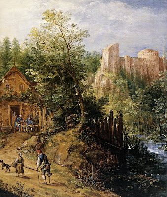 Pieter Stevens. Mountain Valley with Inn and Castle