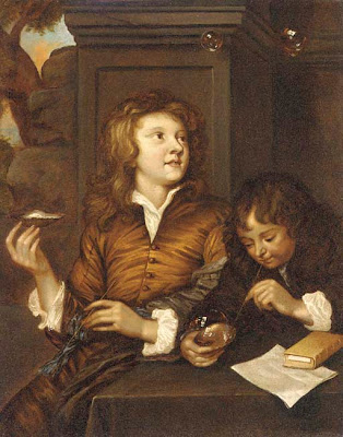 Follower of Arnold Boonen Blowing Bubbles in Painting