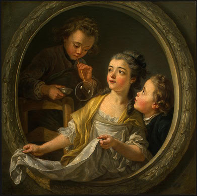 Charles Amédée Philippe Vanloo Blowing Bubbles in Painting
