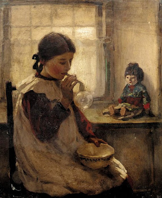 Blowing Bubbles in Painting Garnet Wolseley British Artist