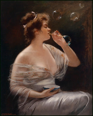 Blowing Bubbles in Painting Bernhard Zickendraht German Artist