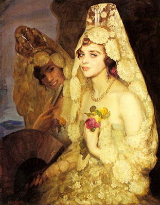 Fan in Painting Two Elegant Ladies Holding Fans by Pedro Antonio