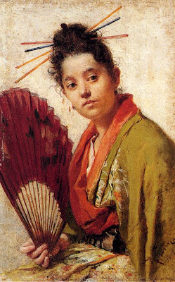 Fan in Painting Fontano Roberto A Young Girl Holding A Fan