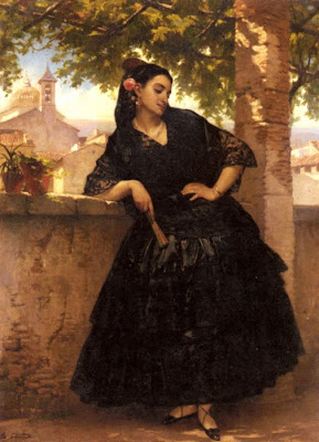Fan in Painting Giraud Eugene Pierre Francois. Spanish Beauty With A Fanid=