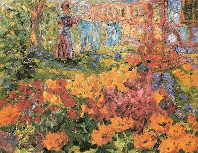 Ladies in the Garden in Painting Emil Nolde. Flower Garden