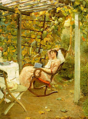 Garden in Painting In the Pergola by Oscar Bluhm 1892