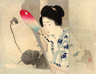 Tomioka Eisen Japanese Ukiyo-e Prints Ladies with Fan
