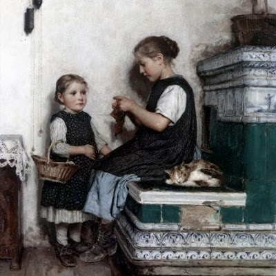 Genre Painting by Swiss Artist Albert Anker