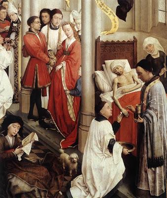 Seven Sacraments Altarpiece (detail) by Belgian Renaissance Painter Rogier van der Weyden