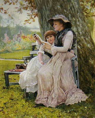 Victorian Mother and Child in Spring