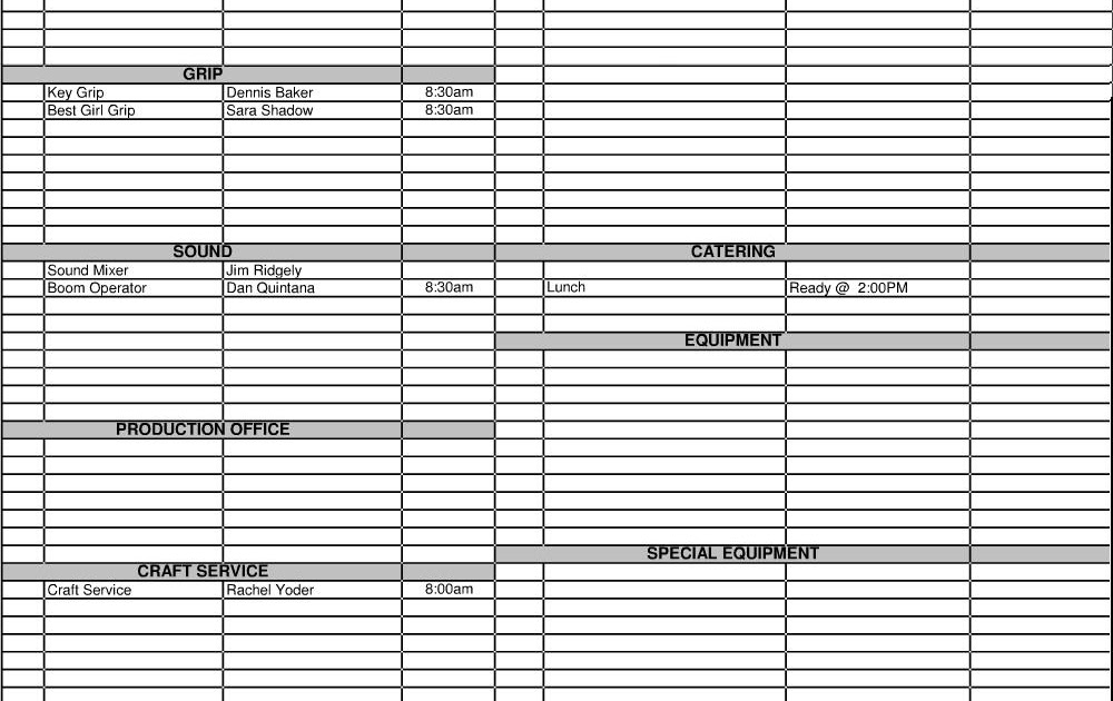 Pre production Call Sheets – Call Sheet Example