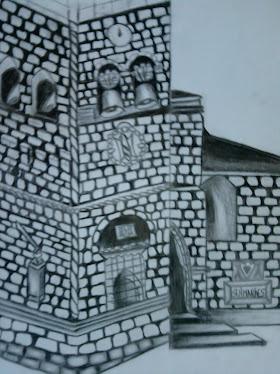 igreja da oliveira de guimaraes em lapiz de carvao