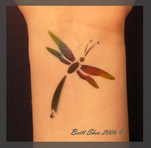Dragonfly Wrist Airbrush Tattoo Design