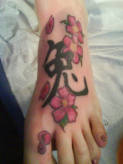 Women Foot Japanese Cherry Blossom Tattoos Picture 3