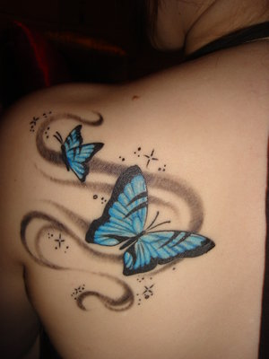 Female Angel Tattoos Design on Upper Back Butterfly tattoo designs for