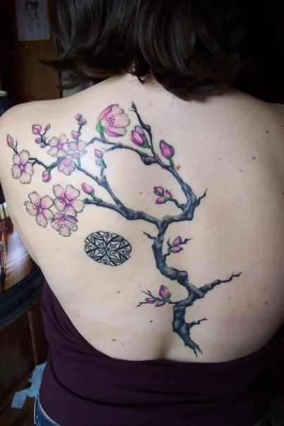 Upper Back Japanese Tattoos With Image Cherry Blossom Tattoo Designs
