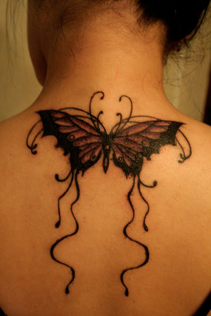 Picture Sexy Girls Tattoo With Upper Back Butterflies Tattoo Designs 2