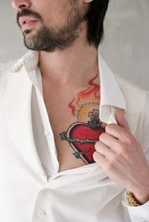 Heart Tattoo Designs On Chest for  Men