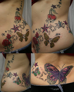 Butterflies And Stars Tattoo Designs On The Full Side Body
