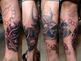 Beautiful Japanese Mask Tattoo 5