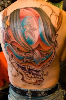Beautiful Japanese Mask Tattoo 3