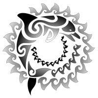 Tribal Sun Dolphin Maori Tattoo Design