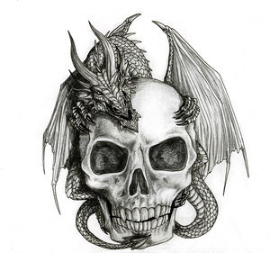 Evil Skull Tattoo Design