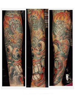 Japanese Mask Sleeve Tattoo Design