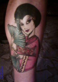 Calf Japanese Geisha Tattoo