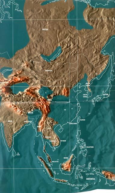 Mapa da China pós tribulação e tsunami, apocalipse mapas mundo 2036