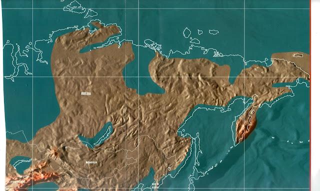 Mapa da Rússia pós tribulação e tsunami, apocalipse mapas mundo 2036