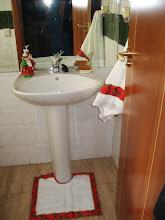 Patchwork de Navidad en el baño