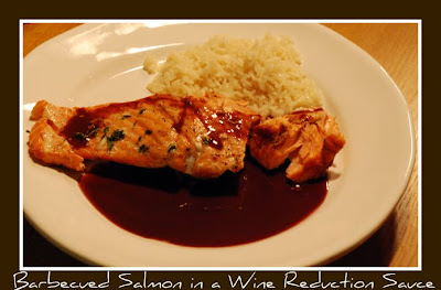 Salmon in a Red Wine Reduction Sauce