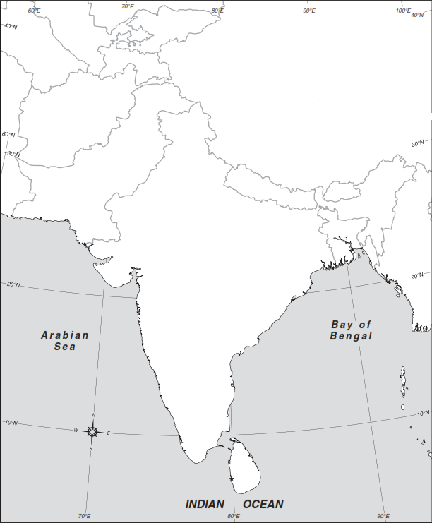 Map Of South Asia With Rivers. Standard map work directions