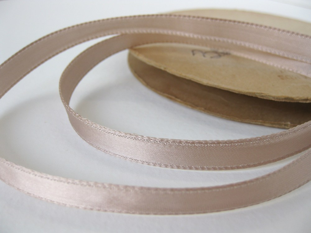 Vintage Trim. Satin Ribbon, Rosy Taupe Beige, 3/8 inch, 1940's rib0034 (2 yards)