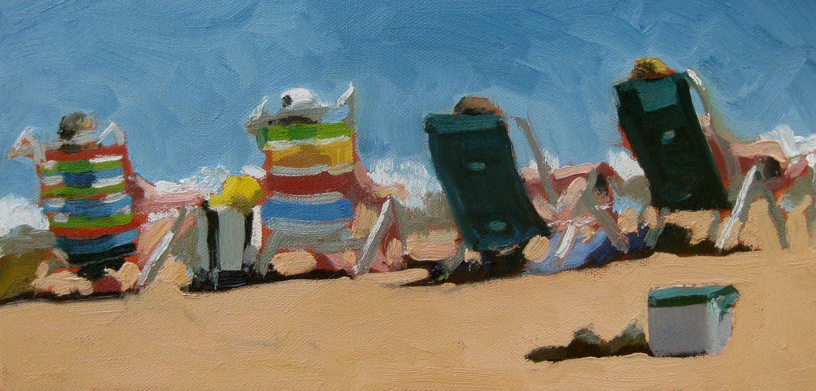 Beach chairs on the beach painting - Beach Chairs
