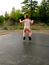 Naked trampoline jumping