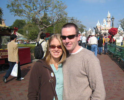 Ashley & Ken in front of Snow White's Castle Thanksgiving Day at Disneyland in Anaheim, California