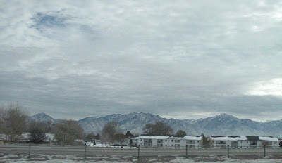 Mountain view from highway just outside of the SLC airport in Salt Lake City